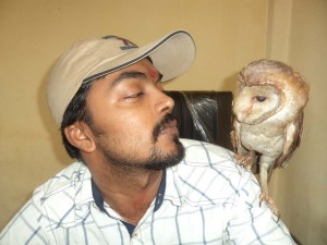 Happiness & Love of Barn Owl towards MWT and Herpetologist Mr. Mavish. before release.