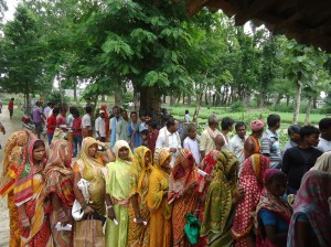 People Waiting in queue to collect Sapling from DPF Nursery