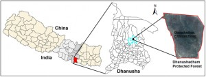 Location of Dhanushadham Protected Forest