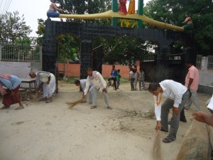 AFO Shankar Narayan Jha and Local public busy in cleaning Dhanushsh Temple Area
