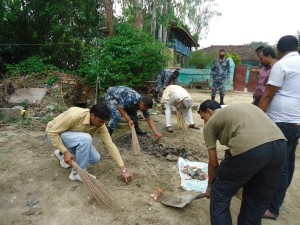 CDO Dhanusha, MWT Chairman and members cleaning Dhanush temple area