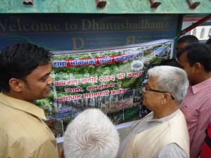 MWT Chairman explaining about wildlife of Dhanushadham Protected Forest to Mr. Krishna Prashad Dhungana, CDO Dhanusha