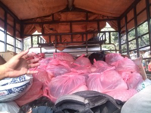 Donated materials in transportation to One of highly affected VDC