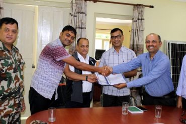 Exchanging signed agreement in presence of RD, PWR Warden and Nepal Army