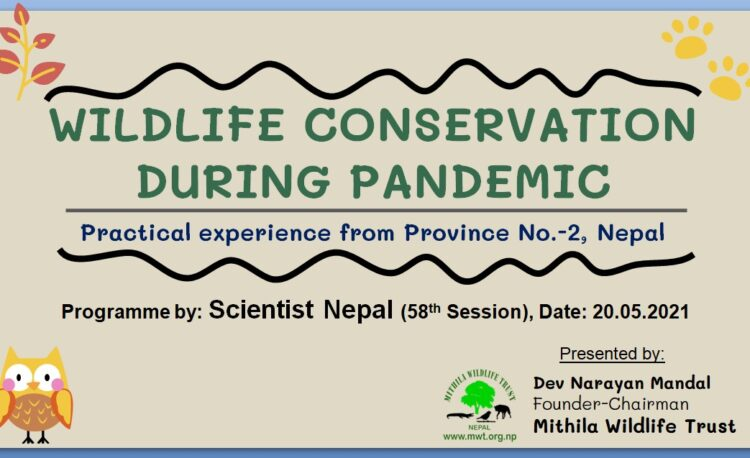 Presentation poster for Scientist Nepal 58th Session by Mithila Wildlife Trust